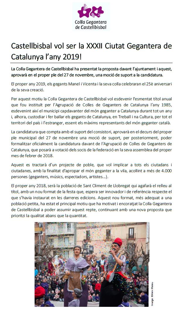 NdP_Castellbisbal vol ser Ciutat Gegantera de Catalunya