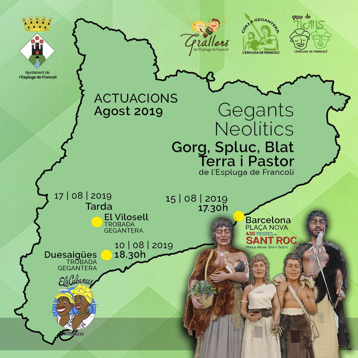 Els Gegants Neolítics de l'Espluga visitaran Duesaigües, Barcelona i el Vilosell, aquest agost