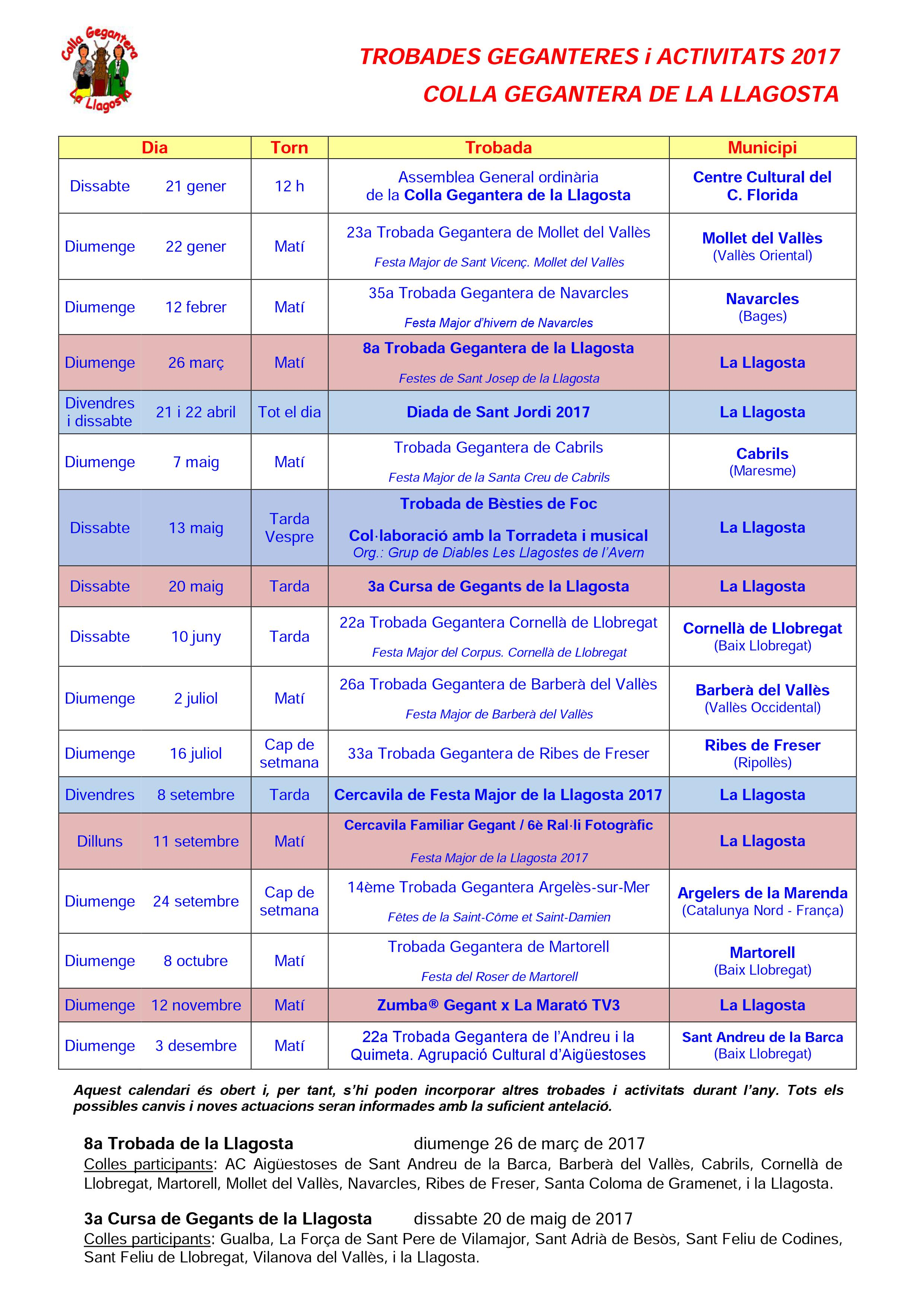 Colla Gegantera calendari 2017